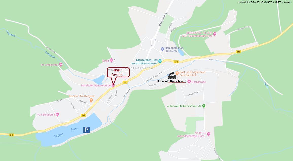 Kartenausschnitt Agentur Güntersberge