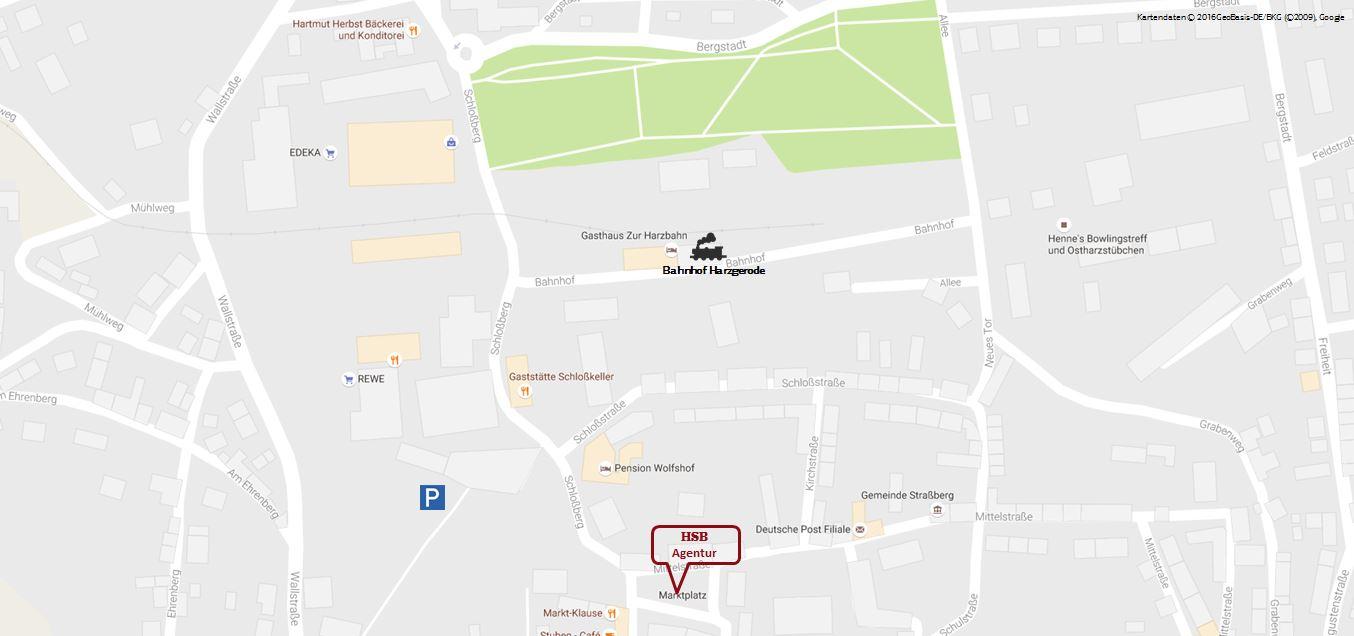 Kartenausschnitt Agentur Harzgerode