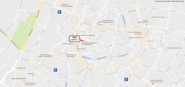 Kartenausschnitt Bahnhofsagentur Quedlinburg