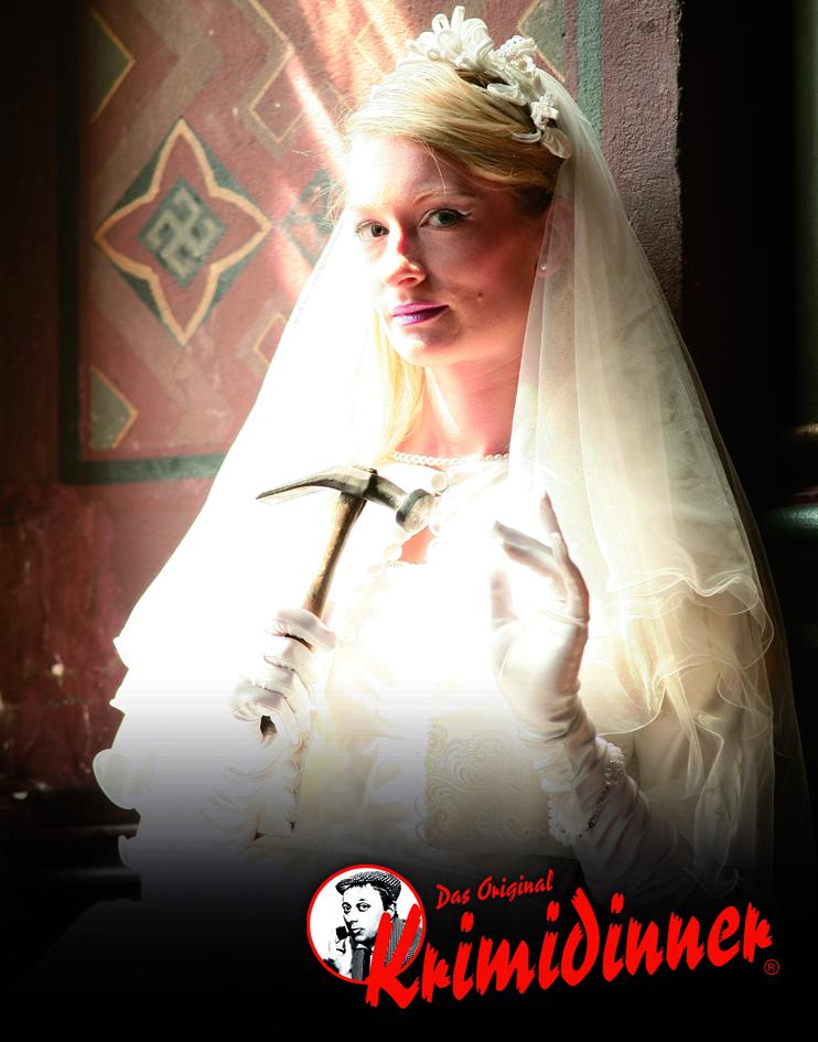 Krimidinner Braut mit Hammer