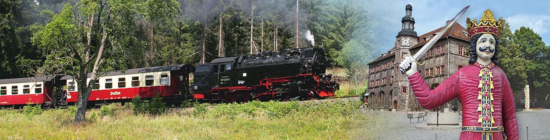 Dampfzug und Königsfigur vor Nordhausen