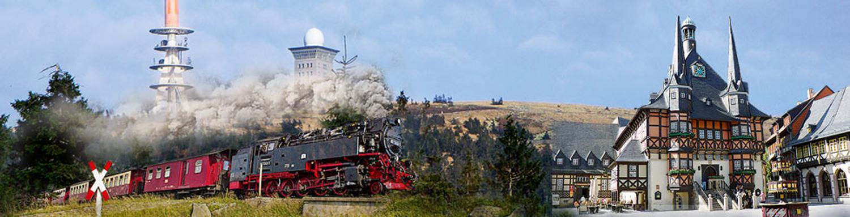 Dampfzug mit Brocken und Wernigerode